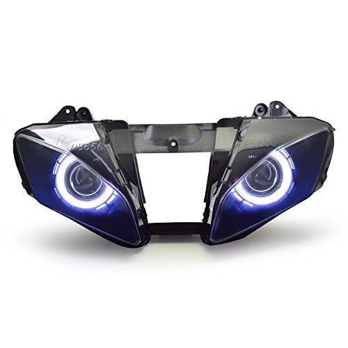 KT LED Angel Eye Headlight Assembly for Yamaha R6 2006-2007 V1 White Angel Eye
