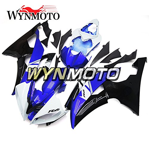 WYNMOTO ABS Injection White Blue Black Complete Motorcycle Fairings For Yamaha YZF R6 08 - 16 Hulls