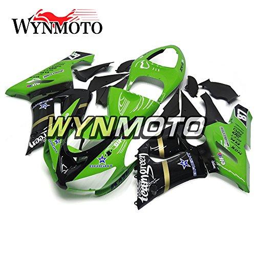 WYNMOTO ABS Plastic Injection Gloss Green Black Pattern Motorcycle Full Fairing Kit Cowlings For Kawasaki ZX6R 2005 2006 ZX-6R 05 - 06 Sportbike Coat