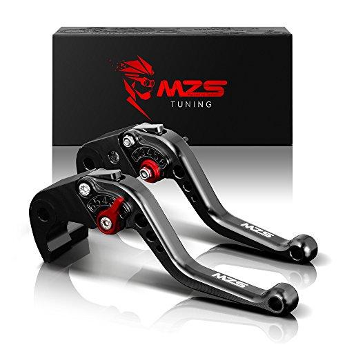 MZS Short Brake Clutch Levers for Kawasaki ZX6RZX636RZX6RR 2000-2004ZX10R 2004-2005ZX12R 2000-2005ZZR600 2005-2009VERSYS 1000 2012-2014Z1000 2003-2006ZX9R 2000-2003 Black