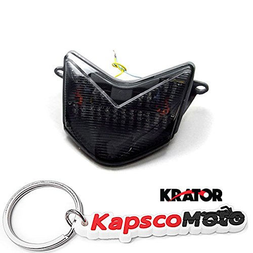 Krator 2005-2007 Kawasaki ZX6RR 636  Z750S  ZX10R LED TailLights Brake Tail Lights with Integrated Turn Signals Indicators Smoke Motorcycle  KapscoMoto Keychain