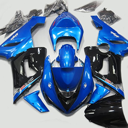 ABS Injection Molding - Black Blue Painted with Graphic Fairings for KAWASAKI NINJA ZX-6R 636 2005-2006
