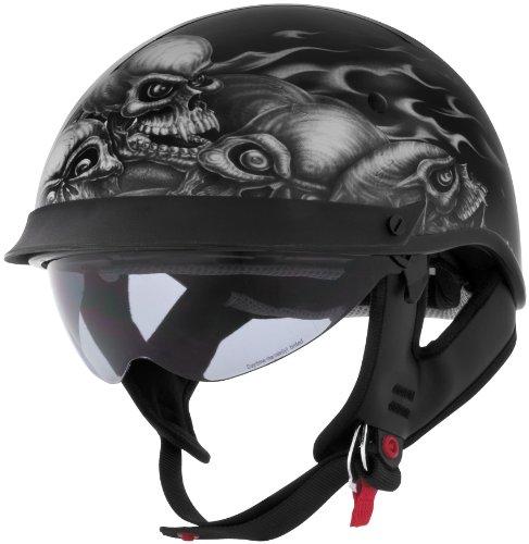 Cyber Helmets Lethal Threat U-72 Skull Pile Helmet with Internal Shield  Distinct Name Skull Pile Gender MensUnisex Helmet Category Street Helmet Type Half Helmets Primary Color Blue Size 2XL 641105
