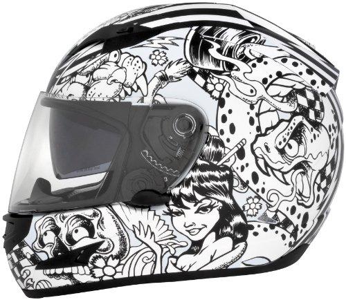 Cyber Helmets Lethal Threat US-97 Sharpie Helmet  Distinct Name Sharpie Gender MensUnisex Helmet Category Street Helmet Type Full-face Helmets Primary Color White Size Sm 641051