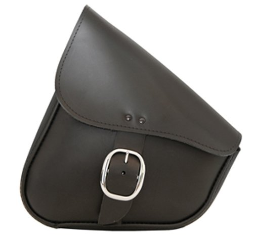 Willie Max By Dowco - Triangulated Motorcycle Swingarm Bag - Lifetime Limited Warranty - UV Protection - Leather - Chrome Buckle - Black - Up To 9L Capacity  59823-00