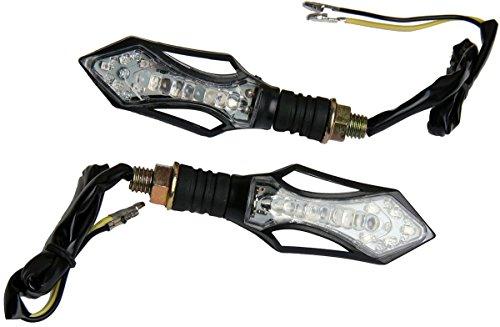 MotorToGo Clear Lens Black Arrow LED Turn Signals Lights Blinkers for 2009 Kawasaki Super Sherpa 250 KL250G
