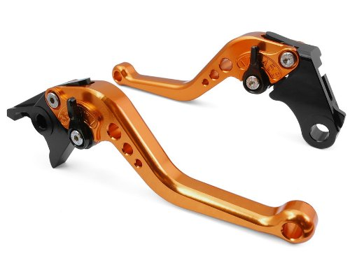 Pair Orange Motorcycle Racing CNC Billet Short Brake Clutch Levers For Yamaha YZF R1 1999 2000 2001 Y688F-21