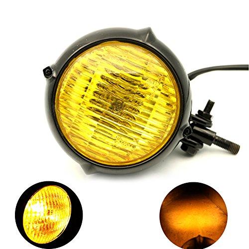 MotoFans H4 35W HiLow bulb Vintage Style Motorcycle Headlight Retro Cafe Racer Bobber Chopper Cruiser