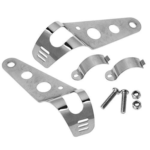 Partsam 2pcs Silver Headlight Mount Brackets Fork Ears For Honda CB650 CB750 Cafe Racer Bobber