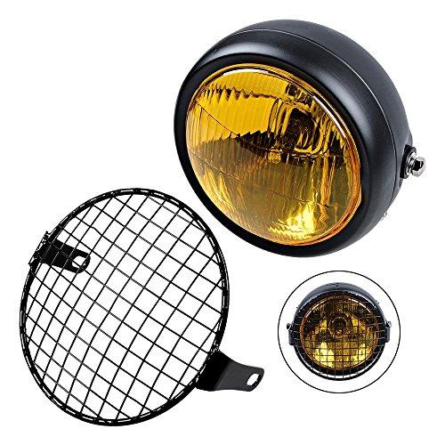 TASWK Universal Motorcycle 6 12 Amber Headlight  Headlamp Cover Mesh Grill Cafe Racer Bobber