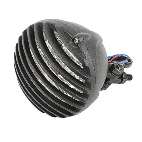 XFMT Black Finned Grill LED Headlight Cafe Racer Bobber Cruiser XS650 CB750 XL TRI