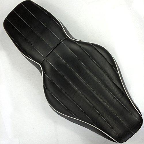 HK Motorcycle Black Custom Driver Passenger 2-up Vertical Stripes Style Leather Seat For 1997 1998 1999 2000 2001 2002 2003 2004 2005 2006 Harley Davidson FLHR- Road King