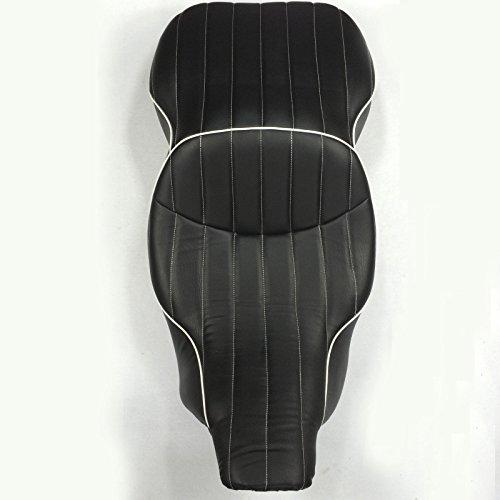 Motorcycle Black Custom Driver Passenger 2-up Vertical Stripes Style Leather Seat For 1997 1998 1999 2000 2001 2002 2003 2004 2005 2006 Harley Davidson FLHT- Electra Glide Standard