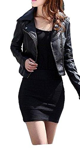 Vintage Women Slim Biker Motorcycle Pu Soft Leather Zipper Jacket Coat Black
