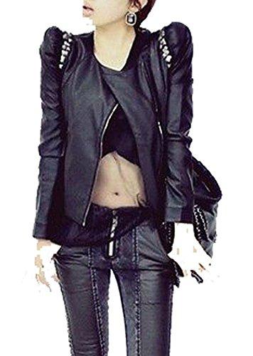 Women's Vintage Shrug Leather Black Coat Jacket Motorcycle