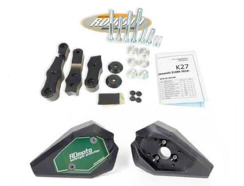 Suzuki GSR 750 2011-2013 RD Moto Crash Frame Sliders Protectors With Full Mounting Kit SL01 BlkGrn