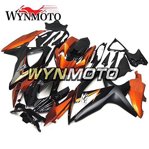 WYNMOTO Gloss Black Orange Motorcycle Body Kit For Suzuki GSX-R600 GSX-R750 2008 2009 2010 K9 08 09 10 Sportbike ABS Plastic Injection Fairings
