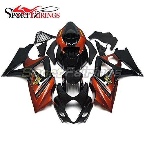 Sportfairings Complete Fairing Kits For Suzuki GSX-R1000 K7 2007 2008 GSXR-1000 Fairings ABS Black Orange Bodyworks