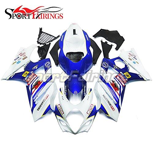 Sportfairings Complete Fairing Kits For Suzuki GSX-R1000 K7 2007 2008 GSXR-1000 Fairings ABS Fittings Motul White Blue