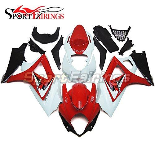 Sportfairings Complete Fairing Kits For Suzuki GSX-R1000 K7 2007 2008 GSXR-1000 Fairings Panels Red White
