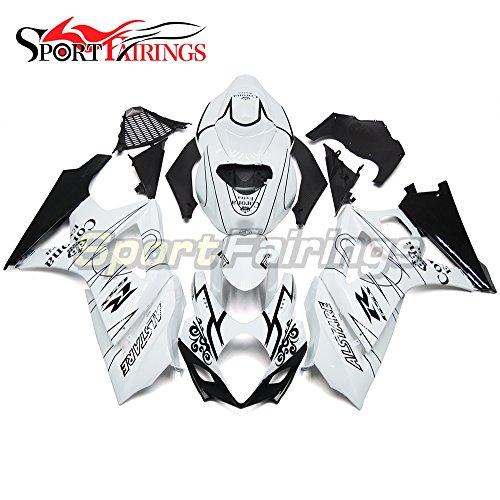 Sportfairings Complete Fairing Kits For Suzuki GSX-R1000 K7 2007 2008 GSXR-1000 Fairings Panels White Black Lines