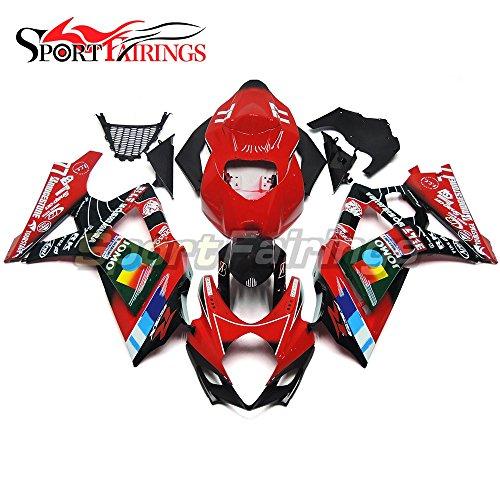 Sportfairings Complete Injection Fairing Kits For Suzuki GSX-R1000 K7 2007 2008 GSXR-1000 Fairings Bodyworks Jomo Red