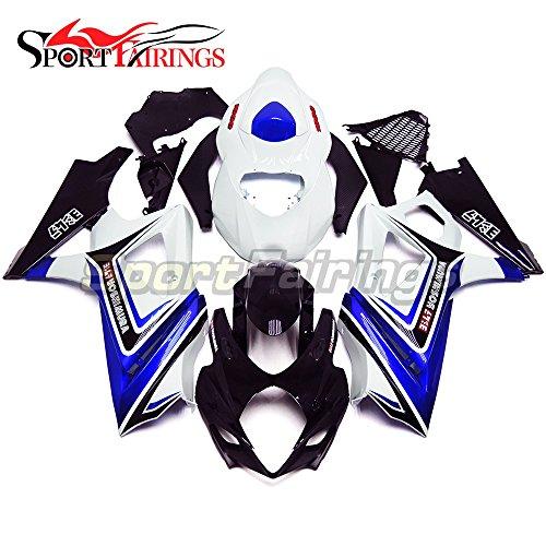 Sportfairings Complete Injection Fairing Kits For Suzuki GSX-R1000 K7 2007 2008 GSXR-1000 Fairings Carene White Blue