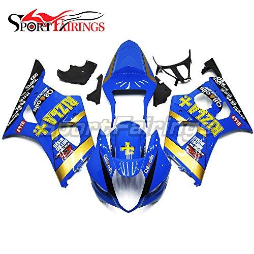 Sportfairings Injection ABS Motorcycle Fairing Kits For Suzuki GSXR1000 K3 Year 2003 2004 Rizla  Blue Bodywork