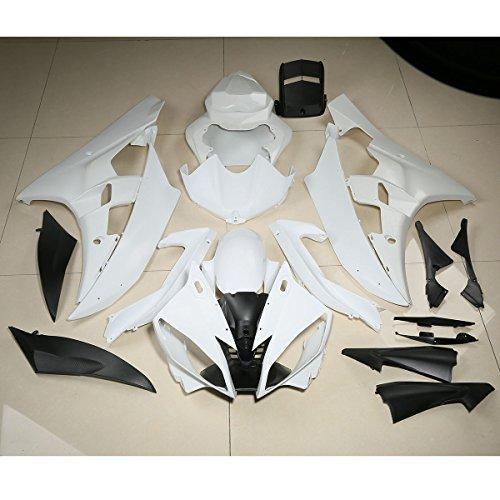 XFMT ABS Fairing Cowl Kit Bodywork For YAMAHA YZF R6 YZF-R6 2006 2007 Unpainted White
