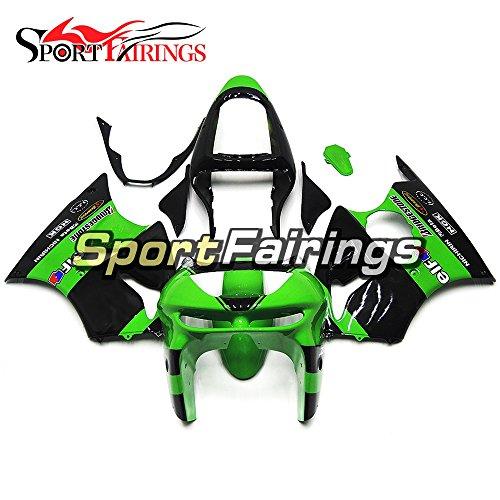 Sportfairings Black Green Plastic ABS Painted Fairings For Kawasaki ZX6R Ninja636 Year 1998 - 1999 Motorbike Cowling Bodywork