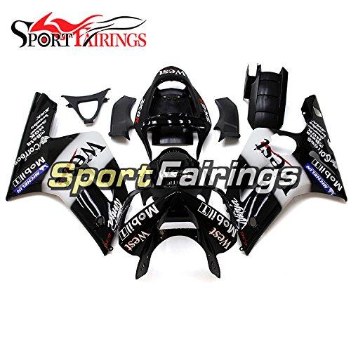 Sportfairings Complete Injection Plastics Fairing Kits For Kawasaki ZX6R 636 Year 2003 - 2004 White Black Fairings Cowl