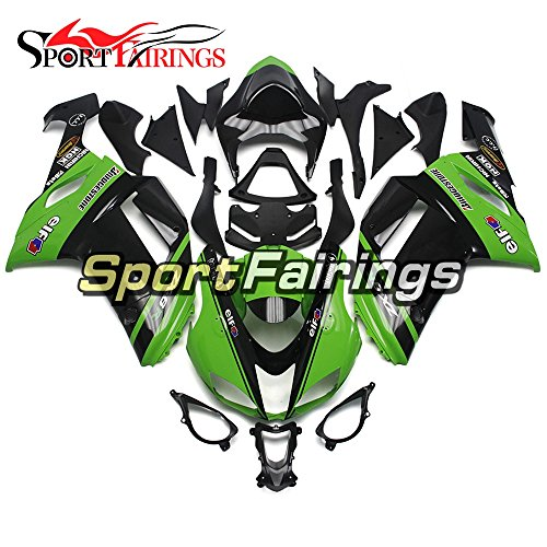 Sportfairings Green Black ABS Plastics Injection Motorcycle Fairing Kits For Kawasaki ZX6R Ninja636 Year 2007 2008 Motorbike Bodywork Cowling