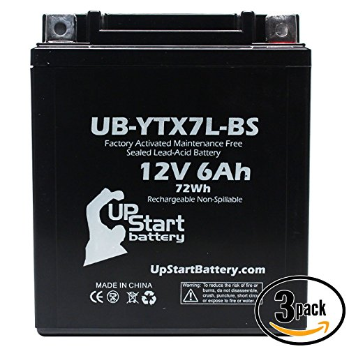 3-Pack Replacement 1999 Kawasaki EX250 Ninja 250CC Factory Activated Maintenance Free Motorcycle Battery - 12V 6Ah UB-YTX7L-BS
