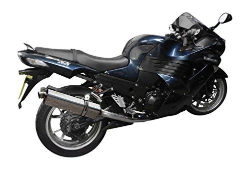 Kawasaki ZZR1400 17 Stainless Steel Tri-Oval Muffler Delkevic US KIT1313