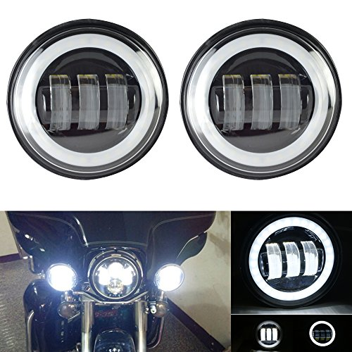 QUAKEWORLD Passing Lamps Auxiliary Light Bulbs 45Inch Round Led Fog Lights with Halo DRL for Harley Davidson Road King Electra Glide Yamaha Royal Star Venture Firebird Heritage Softail Ultra Classic