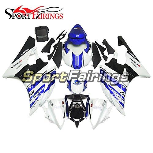 Sportfairings White Blue Fairing Kits For Yamaha YZF R6 2006 2007 Year 06 07 Fairings Motorcycle Body Kits ABS Plastic Bodywork