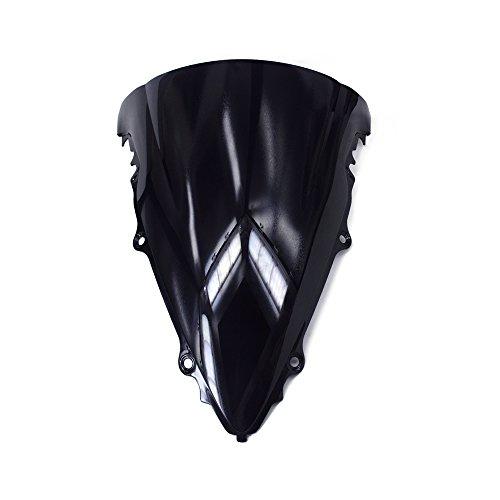 JFG RACING Black Windshield Windscreen Screen ABS Shield For Yamaha YZF R6 YZF-R6 2003-2005