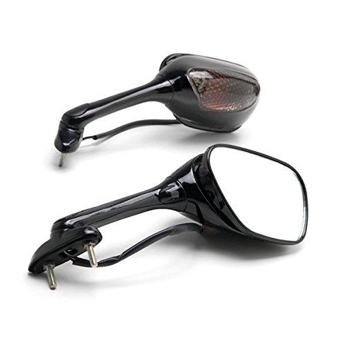 Krator Black Motorcycle Mirrors Turn Signals Left Right For 2006-2009 Suzuki GSXR 600  GSX-R600