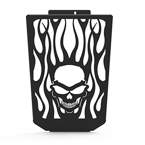 Skull Flame Black Powdercoat Radiator Grill fits 2006-2014 Suzuki Boulevard M109R - Ferreus Industries - GRL-127-09-Black