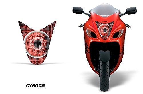 AMR Racing Sport Bike Headlight Eye Graphic Decal Cover for Suzuki Hayabusa 1300 08-14 - Cyborg Red