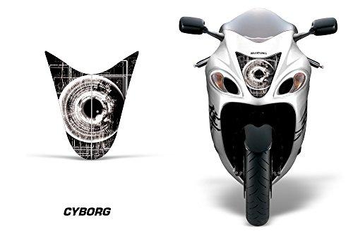 AMR Racing Sport Bike Headlight Eye Graphic Decal Cover for Suzuki Hayabusa 1300 08-14 - Cyborg White