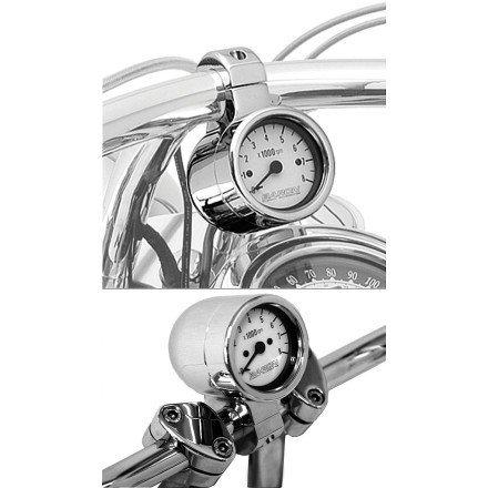 Baron Custom Accessories 3 Bullet Tachometer CHROMEWHITE