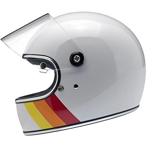 Biltwell Gringo S Helmet - White Tri Stripe - Large
