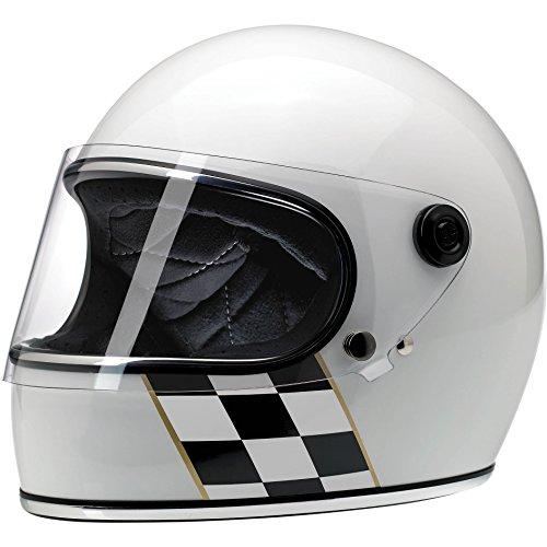 Biltwell Gringo S Le Checker Stripe Helmet Gloss White Small