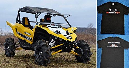 Bundle 2 Items Yamaha YXZ Scratch Resistant Flip Windshield and Unhinged ATV T-shirt Extra Large