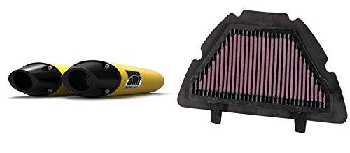 K&N Air Filter HMF Yellow Performance-Series Dual Slip On Exhaust Euro-Black for Yamaha R1 2007-2008