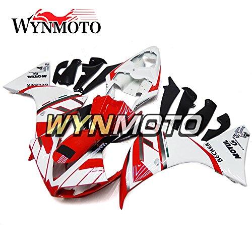 WYNMOTO Fairing Kit For Yamaha R1 YZF1000 R1 2009 2010 2011 White Red Stripe Bodyframe Fairings Set