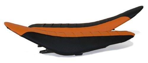 FLU Designs F-55301 OrangeBlack Pleated Grip Seat Cover for KTM SX EXCXC
