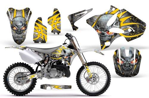 CreatorX Yamaha Yz125 Yz250 2 Stroke Graphics Kit Decals Skulls N Bolts Solid Yellow White