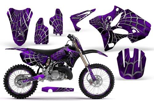 CreatorX Yamaha Yz125 Yz250 2 Stroke Graphics Kit Decals SpiderX Purple Incl Number Plate Rim Graphics